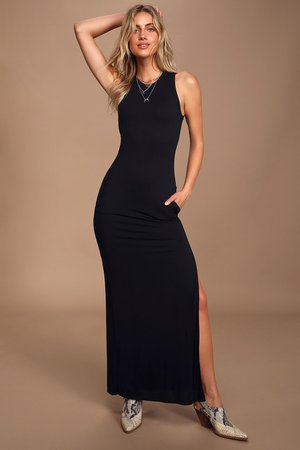 Sexy Black Dress - Maxi Dress - Bodycon Maxi Dress - Maxi