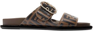 Logo-print Leather And Rubber Slides - Brown