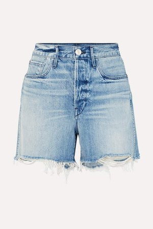 Blake Distressed Denim Shorts - Mid denim