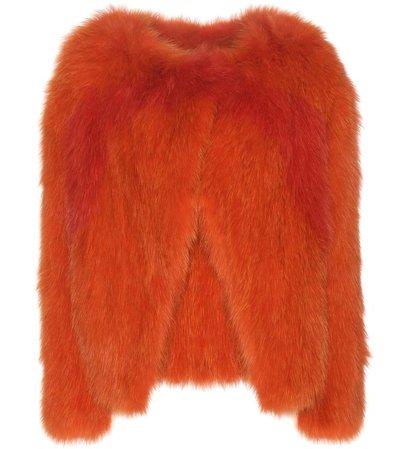 orange fur coat