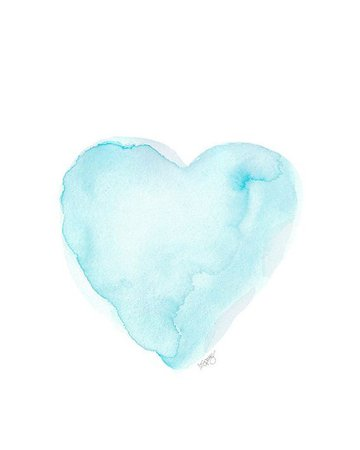 Aqua Watercolor Heart