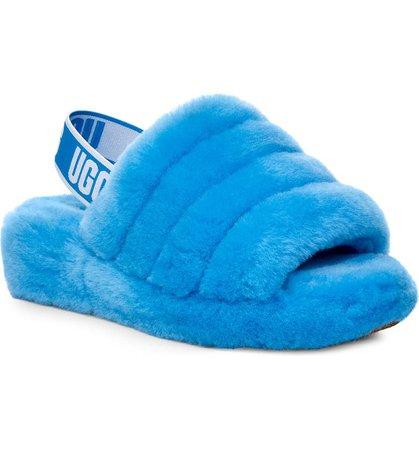UGG® Fluff Yeah Genuine Shearling Slipper (Women) Blue