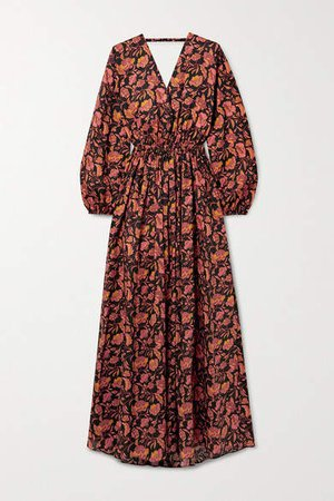 Matteau - Open-back Floral-print Cotton-poplin Maxi Dress - Black