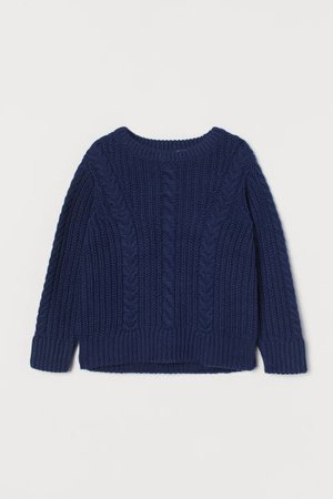 Cable-knit Sweater - Navy blue - Kids | H&M US