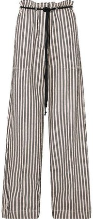 Belted Striped Cotton And Ramie-blend Wide-leg Pants - Ecru