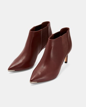 Leather pointed ankle boots - Brown | Boots | Ted Baker ROW