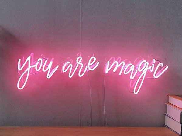 Amazon.com: You Are Magic Real Glass Neon Sign For Bedroom Garage Bar Man Cave Room Home Decor Handmade Artwork Visual Art Dimmable Wall Lighting Includes Dimmer: Handmade