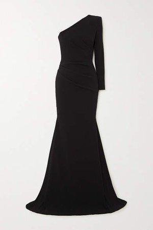 Alden One-shoulder Gathered Crepe Gown - Black