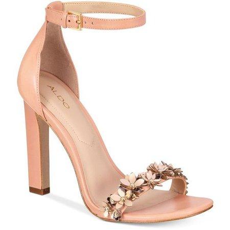 Pink/Light Peach Rose Gold Flower Sandal Heels