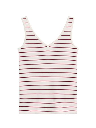 Stripe Ribbed V-Back Tank | Banana Republic