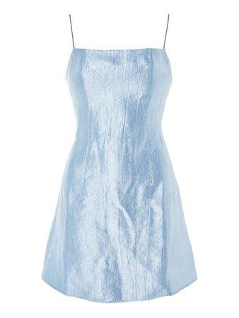 blue satin dress