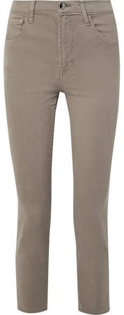 Kyrah Cropped Stretch Cotton-blend Twill Skinny Pants - Army green