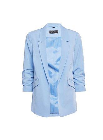 Blue Ruched Sleeve Blazer Jacket | Dorothy Perkins