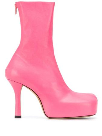 Shop pink Bottega Veneta platform leather boots with Express Delivery - Farfetch