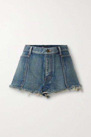 Frayed Denim Shorts - Mid denim