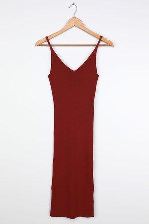 Vero Moda Malio - Red Knit Dress - Ribbed Knit Midi Dress
