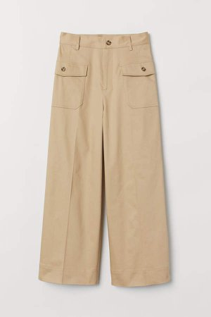 High Waist Pants - Beige