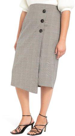 Button Wrap Plaid Skirt