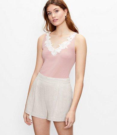 Floral Lace Trim Tank Top