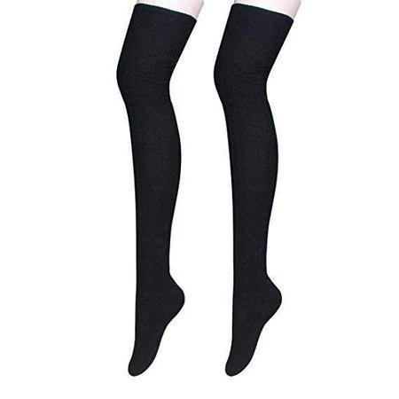 Ordenado Womens Winter Over Knee Leg Warmer Crochet Thigh High Boot Socks Girls Leggings, Black, One Size at Amazon Women's Clothing store: