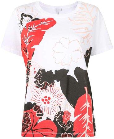 floral-print beaded T-shirt