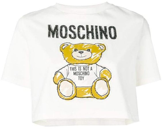 Teddy Bear patch cropped T-shirt
