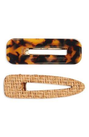 BP. 2-Pack Resin & Woven Hair Clips | Nordstrom