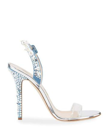 Giuseppe Zanotti Pearly Denim Cocktail Sandals