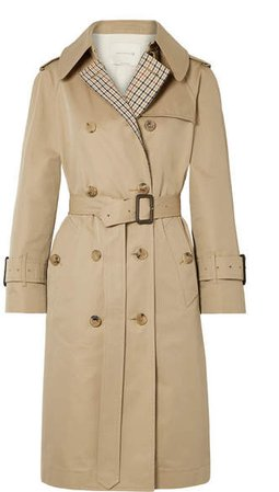 Paneled Cotton-gabardine And Checked Twill Trench Coat - Beige