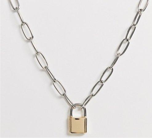 Gold Padlock Necklace | ASOS