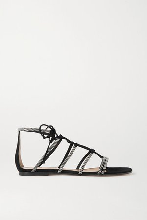 Crystal-embellished Suede Sandals - Black