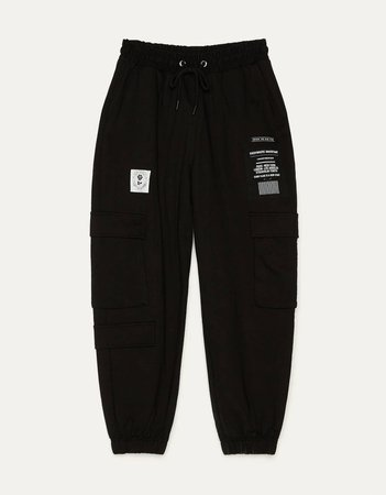 Plush cargo sweatpants - New - Bershka United States