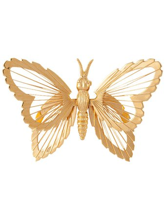 Susan Caplan Vintage Monet Gold Plated Butterfly Brooch, Gold at John Lewis & Partners