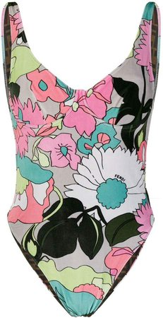floral-print scoop-back swimsuit