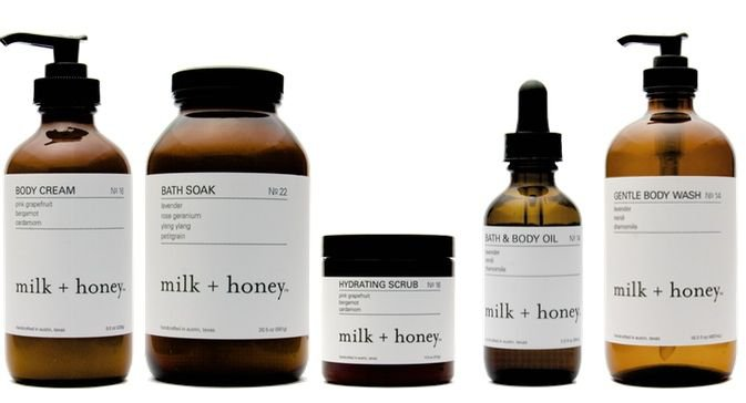 milk + honey bath and body products
