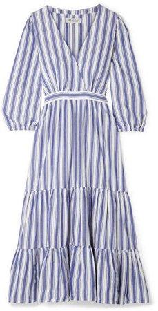 Wrap-effect Striped Cotton Dress - Blue