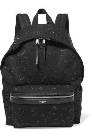 SAINT LAURENT | City embroidered leather-trimmed canvas backpack | NET-A-PORTER.COM