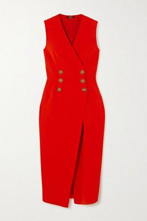 Red Crepe midi dress   Balmain   NET-A-PORTER