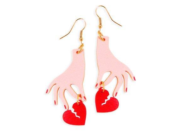 Hand with Broken Heart Earrings Heartbreaker Heartbroken | Etsy