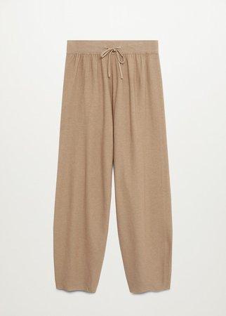Elastic waist cotton pants - Women | Mango USA