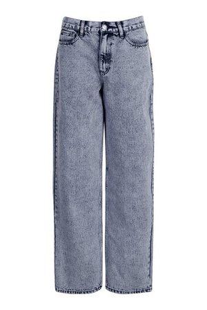 Tall Wide Leg Acid Wash Boyfriend Jeans   boohoo blue