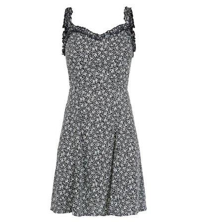 Black Floral Ruffle Trim Sundress | New Look