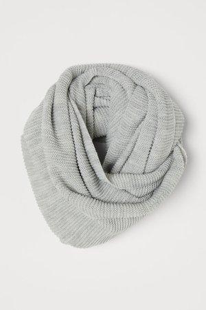 Knit Tube Scarf - Gray