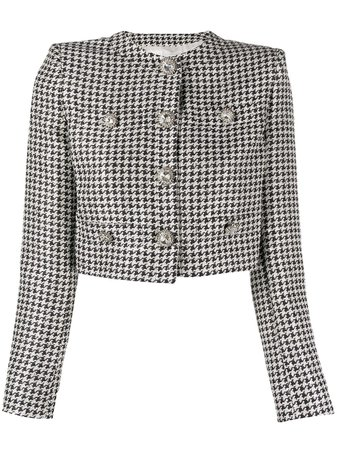 Alessandra Rich Cropped Embellished Houndstooth Jacket Ss20 | Farfetch.com