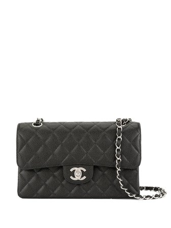 Black Chanel Pre-Owned CC Logos Double Flap Chain Shoulder Bag | Farfetch.com