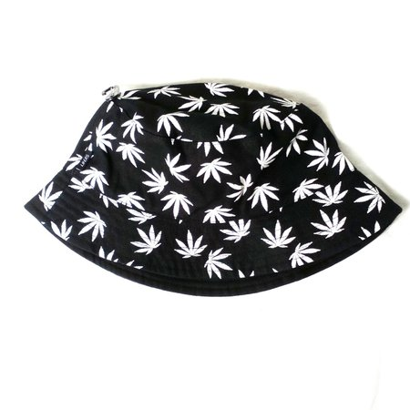 'Lifers' from Urban Outfitters reversible black cannabis leaf bucket hat