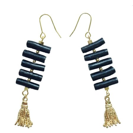 Coral tassel earrings at Wolf and Badger