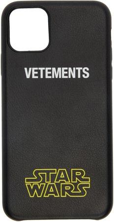VETEMENTS: Black STAR WARS Edition Logo iPhone 11 Pro Max Case