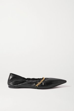 Chain-embellished Leather Point-toe Flats - Black