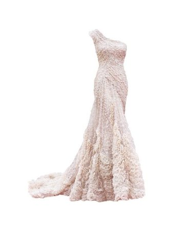 One strap off white gown